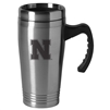 Nebraska Cornhuskers Engraved 16oz Stainless Steel Travel Mug - Silver