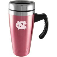 North Carolina Tar Heels Engraved 16oz Stainless Steel Travel Mug - Pink