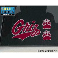 Montana Grizzlies Decal - Grizz W/ 2 Paw Logos