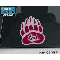 Montana Grizzlies Decal - Paw W/ Grizz Logo - Large