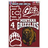 "Montana Grizzlies Multi-Use Decal Set - 11"" x 17"""