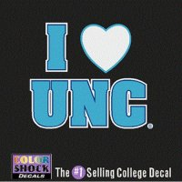 North Carolina Tar Heels Decal - I Heart Over Unc