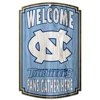 North Carolina Tar Heels Fan Cave Wood Sign