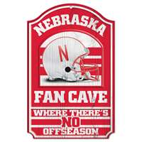 Nebraska Cornhuskers Fan Cave Wood Sign