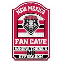 New Mexico Lobos Fan Cave Wood Sign
