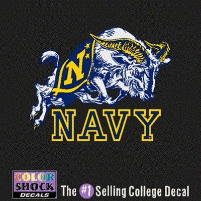 Navy Midshipmen Decal Mascot Over Navy