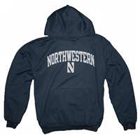 Northwestern Wildcats Hooded Sweatshirt By Champion, Arched Print, Navy