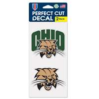 "Ohio Bobcats Perfect Cut Decal 4"" x 4"" - Set of 2"