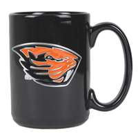 Oregon State Beavers 15oz Black Ceramic Mug - Mascot Logo