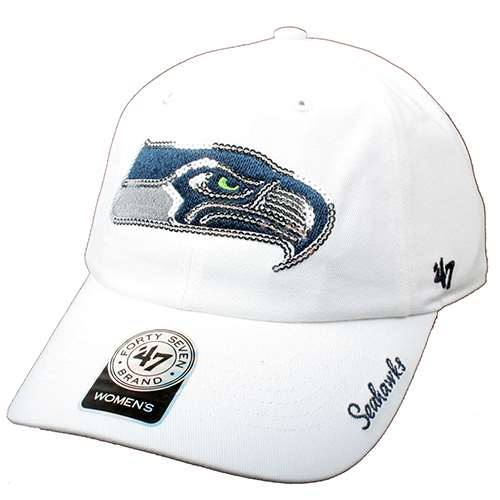 Seattle Seahawks  47 Brand Ladies Sparkle Slouch Hat - White 8e97acfaf59e