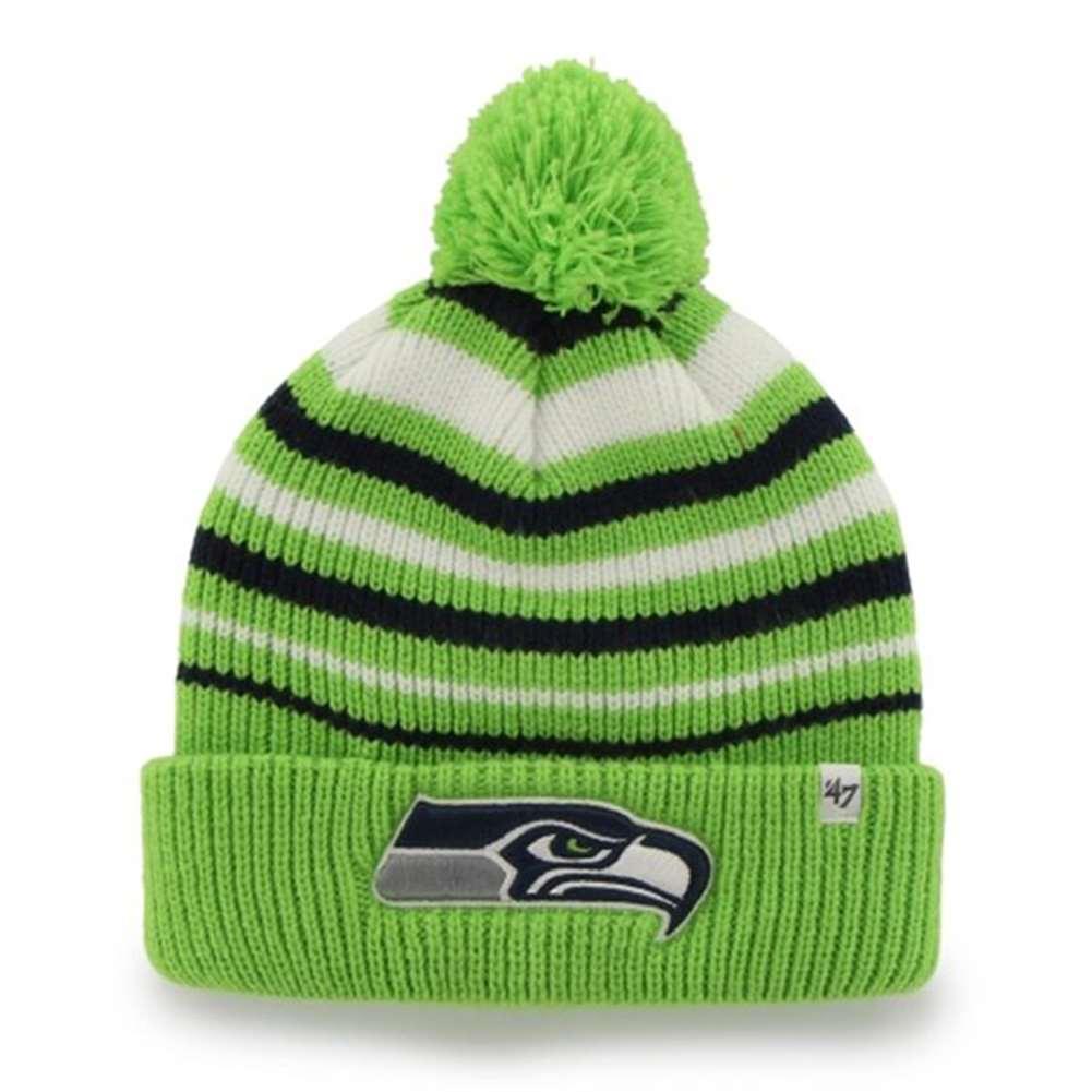 9a8252dc069 Seattle Seahawks  47 Brand Incline Knit Cuffed Pom Beanie