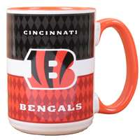 Cincinnati Bengals 15oz White Stripe Coffee Mug