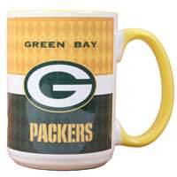 Green Bay Packers 15oz White Stripe Coffee Mug