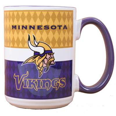 Minnesota Vikings 15oz White Stripe Coffee Mug