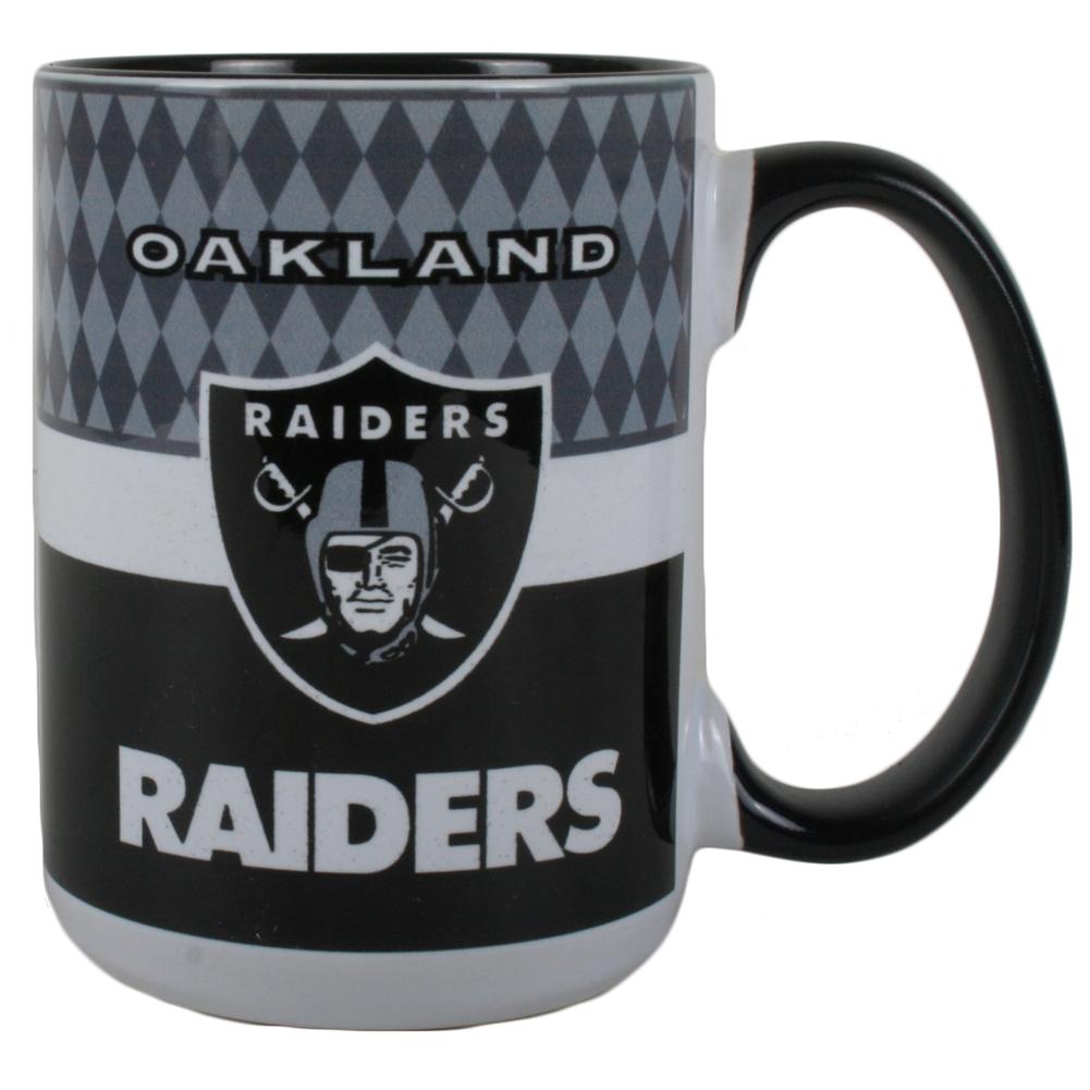 San Diego Chargers Coffee Mug: Oakland Raiders 15oz White Stripe Coffee Mug