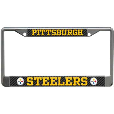 Pittsburgh Steelers Metal License Plate Frame - Carbon Fiber