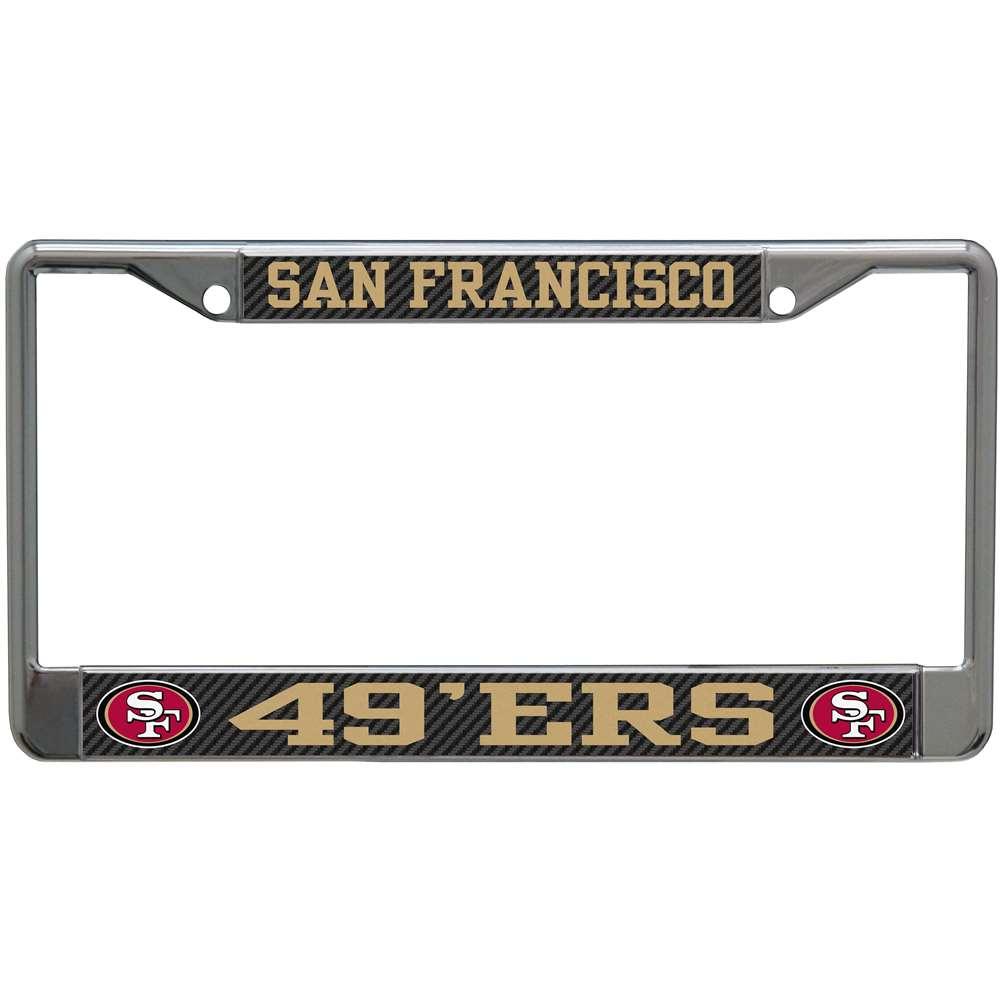 San Francisco 49ers Metal License Plate Frame - Carbon Fiber
