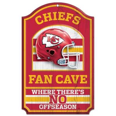 Kansas City Chiefs Fan Cave Wood Sign