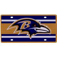 Baltimore Ravens Full Color Super Stripe Inlay License Plate