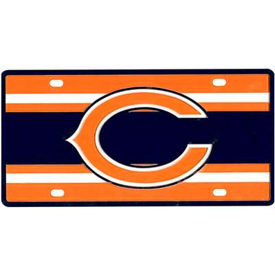 Chicago Bears Full Color Super Stripe Inlay License Plate