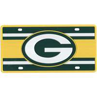 Green Bay Packers Full Color Super Stripe Inlay License Plate