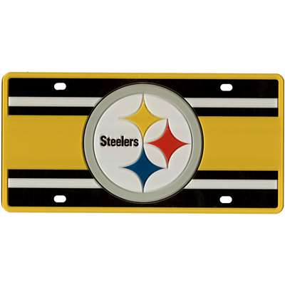 Pittsburgh Steelers Full Color Super Stripe Inlay License Plate