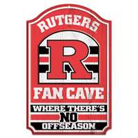 Rutgers Scarlet Knights Fan Cave Wood Sign