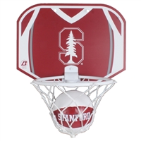 Miniature basketball and hoop set by Baden. Has team logo on ball and backboard of hoop. Made to mount on doors or walls.