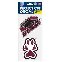 "Southern Illinois Salukis Perfect Cut Decal 4"" x 4"" - Set of 2"
