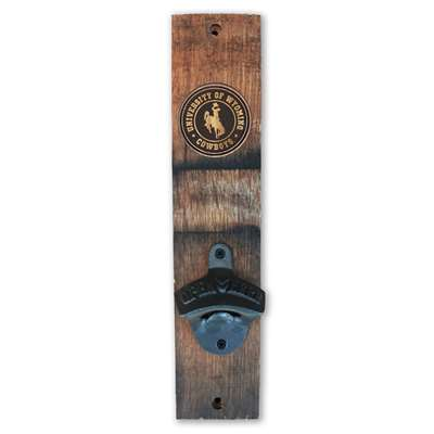 Wyoming Cowboys Barrel Stave Wall Mount Bottle Opener