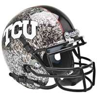 Tcu Horned Frogs Mini Helmet by Schutt - Matte Silver with Crosshatch