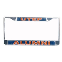 Texas El Paso Miners Alumni Metal License Plate Frame W/domed Insert