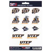 UTEP Miners Mini Decals - 12 Pack