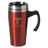 Texas Tech Red Raiders Engraved 16oz Stainless Steel Travel Mug - Red