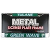 Tulane Green Wave Metal License Plate Frame W/domed Insert