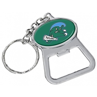 Tulane Green Wave Metal Key Chain And Bottle Opener W/domed Insert