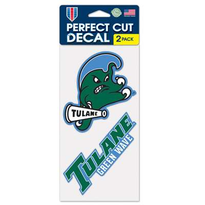 "Tulane Green Wave Perfect Cut Decal 4"" x 4"" - Set of 2"