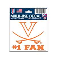 "Virginia Cavaliers Decal 3"" X 4"" - #1 Fan"