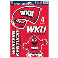 "Western Kentucky Hilltoppers Multi-Use Decal Set - 11"" x 17"""