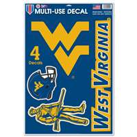"West Virginia Mountaineers Multi-Use Decal Set - 11"" x 17"""