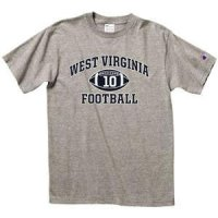 "West Virginia Football T-shirt - West Virginia Arched Above ""football"" - By Champion - Oxford Gray"