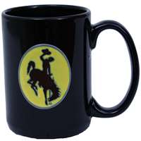 Wyoming Cowboys 15oz Black Ceramic Mug