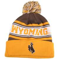 Wyoming Cowboys Zephyr Finish Line Pom Knit Beanie