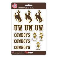 Wyoming Cowboys Mini Decals - 12 Pack